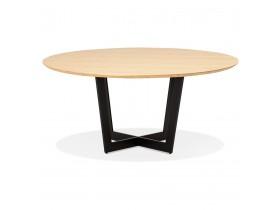 Table de salle à manger ronde 'LULU' en bois finition naturelle et métal noir - Ø120 cm