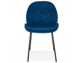 Chaise vintage 'MAGALY' en velours bleu et pieds en métal noir