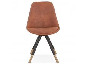 Chaise design 'MAGGY' en microfibre brune et pieds en bois noir