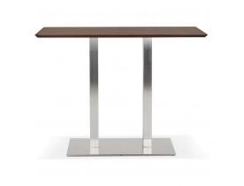 Table haute design 'MAMBO BAR' en bois finition Noyer avec pied en métal brossé - 150x70 cm