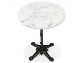 Petite table bistrot ronde 'MARAY' style rustique en marbre blanc et métal noir - Ø 60 cm