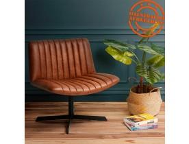 Fauteuil vintage pivotant 'MATCHA' en matière synthétique brune