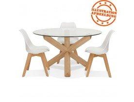Table ronde design 'MAGIK' en verre et chêne massif