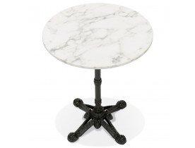 Petite table bistrot ronde 'MARAY' style rustique en pierre blanche effet marbre et métal noir - Ø 60 cm