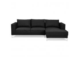 Canapé d'angle design 'MELTING' noir avec méridienne (angle à droite)