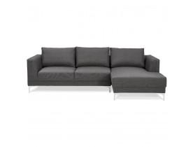 Canapé d'angle design 'MELTING' gris foncé avec méridienne (angle à droite)
