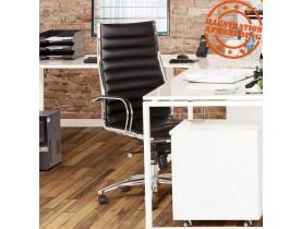 Fauteuil de bureau design 'MILAN' en simili cuir noir