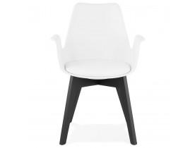 Chaise avec accoudoirs 'MISTRAL' blanche avec pieds en bois noir