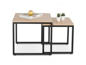 Set de 2 tables gigognes style industriel 'MOMA' en bois finition naturelle et métal noir