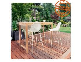 Table haute intérieur/extérieur 'MOUSTIK BAR' en bois Teck naturel - 120x70 cm
