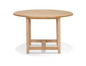 Table à diner ronde intérieur/extérieur 'MOUSTIK' en bois Teck naturel - Ø 120 cm