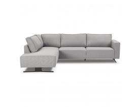 Canapé d'angle design 'MOZART LOUNGE' gris (angle à gauche)
