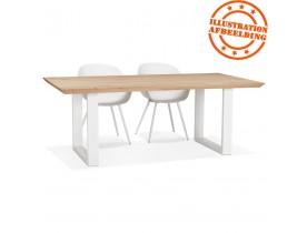 Table de salle à manger 'NATURA' en chêne massif avec pieds en métal blanc - 200x100 cm