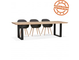 Grande table à manger 'NATURA' en chêne massif avec pieds en métal noir - 260x100 cm