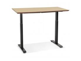 Petit bureau réglable en hauteur 'NOVELLA' en bois finition naturelle et métal noir - 130x70 cm