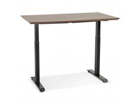 Bureau réglable en hauteur 'NOVELLA' en bois finition Noyer et métal noir - 150x70 cm