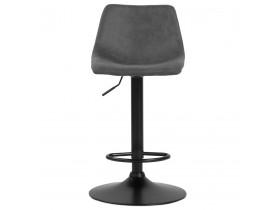 Tabouret réglable design 'OMALET' en microfibre gris foncé et pied en métal noir