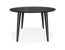 Table à dîner ronde extensible 'ORTENSIA' en bois noir