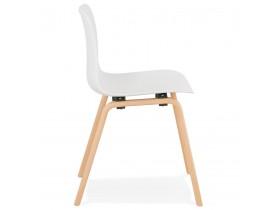 Chaise scandinave 'PACIFIK' blanche avec pieds en bois finition naturelle