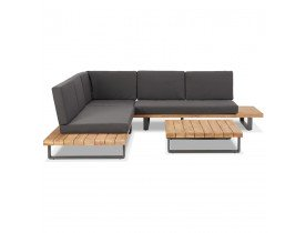 Salon de jardin design en angle 'PENINSULA' en tissu gris et bois massif