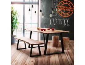 Table de salle à manger style industriel 'RAFA' en bois massif et métal - 200x95 cm