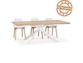 Table de salle à manger 'ROBINSON' en chêne massif avec pied en x en métal blanc - 200x100 cm