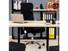 Fauteuil de bureau moderne 'ROMA' noir en similicuir et tissu