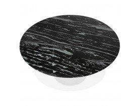 Table à manger 'SHADOW' ronde en verre noir effet marbre et pied central blanc - Ø 140 CM