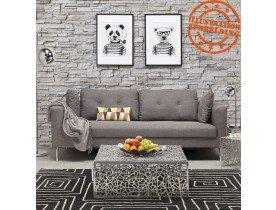Canapé droit 3 places 'SIXTY' en tissu gris très moderne