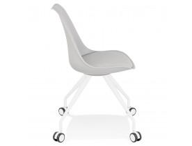 Chaise de bureau sur roulettes 'SKIN' grise avec structure en métal blanc