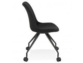 Chaise de bureau sur roulettes 'SNAP' en tissu noir avec structure en métal noir