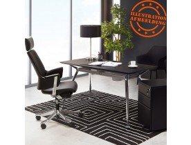 Bureau droit design 'STATION' avec plateau en bois peint noir - 150x70 cm