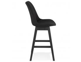 Tabouret snack mi-hauteur 'TERESA MINI' design en tissu noir et pieds en bois noir