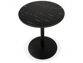 Petite table bistrot ronde 'TOMY' en pierre effet marbre et métal noir - Ø 60 cm