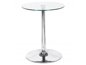 Table ronde 'TRAK' en verre avec un pied chromé - Table HoReCa Ø 60 cm