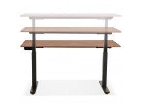 Bureau assis debout électrique 'TRONIK' noir avec plateau en bois finition Noyer - 140x70 cm