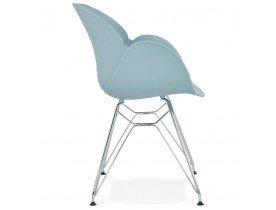 Chaise moderne 'UNAMI' bleue en matière plastique avec pieds en métal chromé