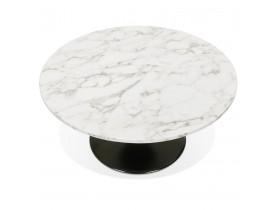Table basse de salon 'URSUS MINI' en pierre blanche effet marbre avec un pied central noir