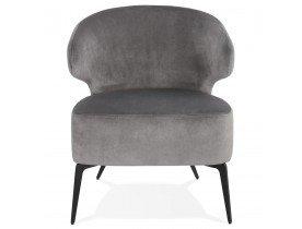 Fauteuil lounge design 'VICTOR' en velours gris et pieds en métal noir