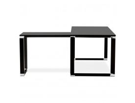 Grand bureau de direction en angle 'XLINE' en bois noir (angle au choix) - 200 cm