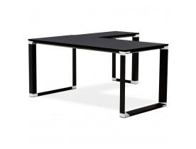 Bureau de direction en angle design 'XLINE' en bois noir (angle au choix)