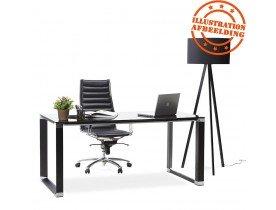 Bureau de direction droit design 'XLINE' en verre noir - 160x80 cm