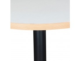 Petite table bistrot ronde 'YOGI' blanche avec un pied en métal noir - Ø 60 cm