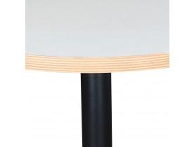 Table bistrot ronde 'YOGI' blanche avec un pied en métal noir - Ø 80 cm