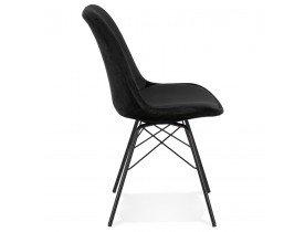 Chaise design 'ZAZY' en velours noir et pieds en métal noir