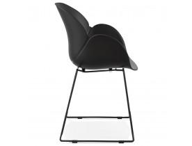 Chaise avec accoudoirs 'ZAKARY' noire avec pied en métal - intérieur /extérieur