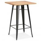 Table haute style industriel 'DARIUS' en bois foncé et pieds en métal noir