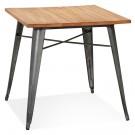Table carrée style industriel 'MARCUS' en bois foncé et pieds en métal gris foncé - 76x76 cm