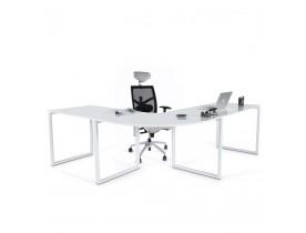 Bureau d'angle 'ALASKA' en bois blanc design (angle au choix)