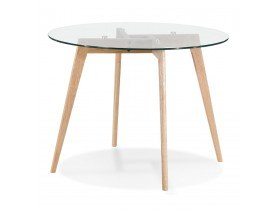 Petite table à diner ronde 'ANGELA' en verre transparent - Ø 100 cm